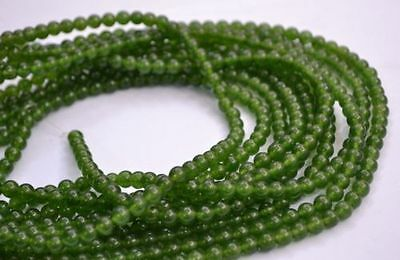 6mm Natural Olive green Jade Gemstone Round Loose Bead 15''LUHI