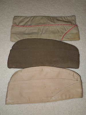 WWII US Army Red Cross Overseas Garrison Caps Hats Named Lot