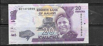 MALAWI #57 2016 UNused NEW 20 KWACHA CURRENCY BANKNOTE BILL NOTE PAPER MONEY