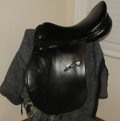 "17"" Medium Hawk Event Saddle. Black. Old but sound. Lots more listed"