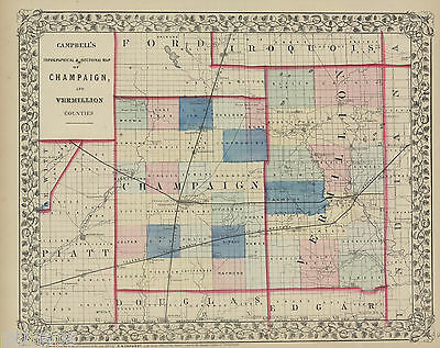 1871  ILLINOIS Counties of Champaign and Vermillion
