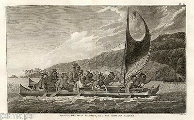 1785 Cook's 3rd Voyage Canoe of the Sandwich Islands with the Rower's Masked