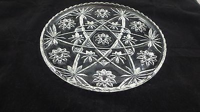 "Anchor Hocking AMERICANA Star of David Vintage Crystal 11"" Serving/Cake Platter"