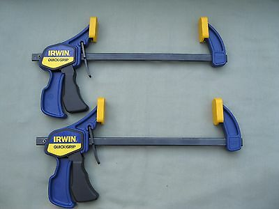 2 Irwin Quick-Grip Clamps Bar Clamp One Hand Operation