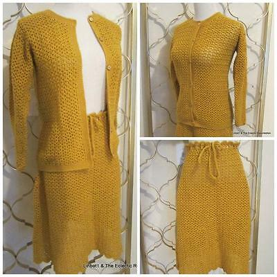 Vintage 1960s Crocheted Suit Skirt & Cardigan Sweater Set Gold Mod Boho S/M