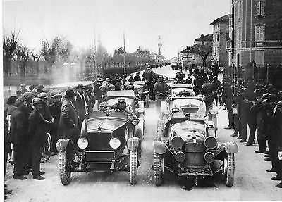 B/w Photograph Start Of The Mille Miglia
