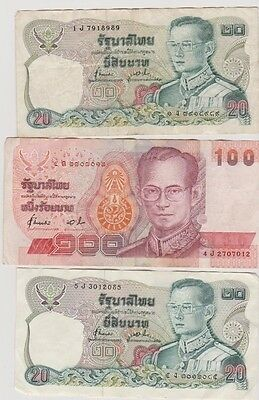 Thailand 3 used notes 2 x 20 & 1 x 100 - see scan for condition.