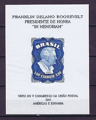 D2648 BRAZIL 1949 Airmail - Homage to Franklin D. Roosevelt MS imperf MNG
