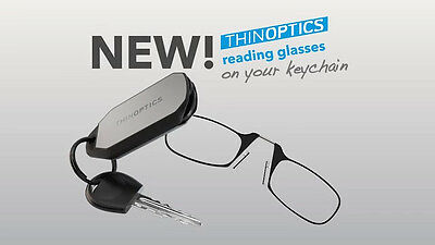 ThinOptics Keychain Reading Glasses +2.00 Black Readers w/  Black/ Silver Case