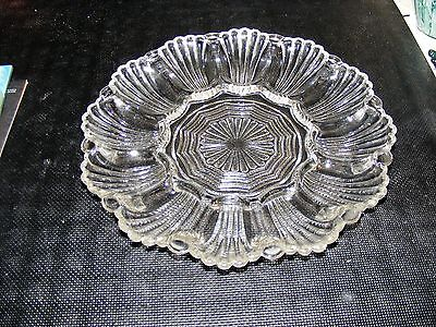 Pair of Vintage Anchor Hocking Clear Glass Deviled Egg/Oyster Plate Platter