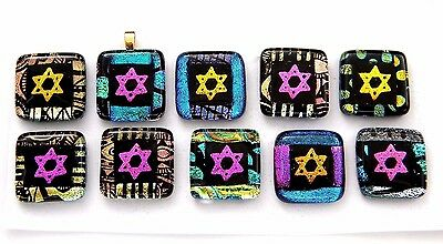 STAR OF DAVID colorful Lot 10pcs DICHROIC FUSED GLASS (Y25) CAB MOSAIC handmade
