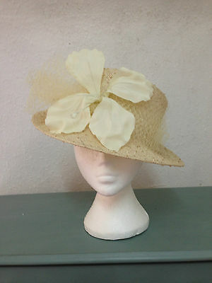 Wedding hat, Cream, Races, Mother of the bride, Ascot hat, chic stylish
