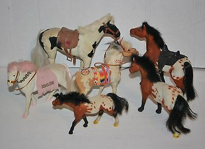 Assortment Of Toy Horse Figures Plastic With Soft Covering