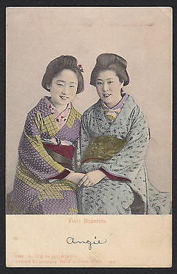 Los Angeles-Chinese-Asian Girls-Women-Hand Colored-Antique Postcard