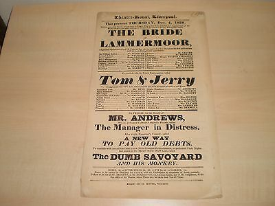 1828 Original Theatre Poster For Theatre-Royal Liverpool The Bride Of Lammermoor