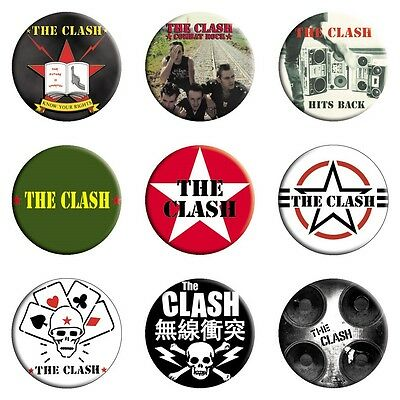 "The Clash Set/Lot of 9 Different 1 1/4"" Buttons"