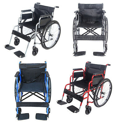 Transit Wheelchair Lightweight Comfort Foldable Portable Self Propelled Footrest