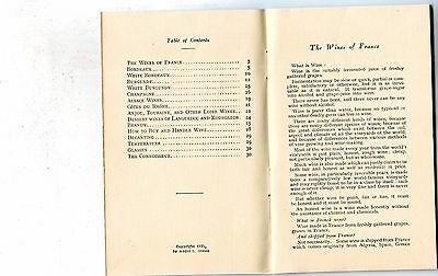 1939 Wines Of France Booklet Andre L. Simon English Interesting!