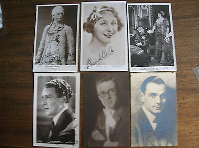 6 VINTAGE  POSTCARDS  ACTRESS  ACTORS  ORIGINAL AUTOGRAPHS SIGNED EARLY 1900s