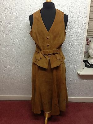 Gorgeous Vintage Suede skirt and waistcoat, Size 16,On trend chic style