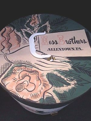 """vintage hess brothers allentown pa hat box. 13"""" tall. Locking sides. Roses"""