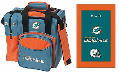 NFL Miami Dolphins 1 Ball Bowling Bag & Towel NEW DOLPHINS LOGO