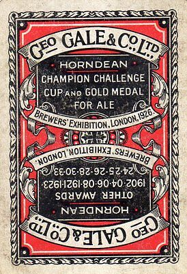"WIDE RARE VINTAGE ""Gales (Horndean) British Brewery"" SINGLE Playing Card"