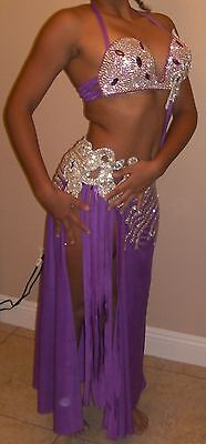 Professional Egyptian hand-made Bra & Skirt Purple Silver Belly Dance Costume