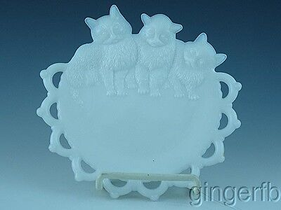 Antique Figural Westmoreland Milk Glass Cat Plate Free Shipping