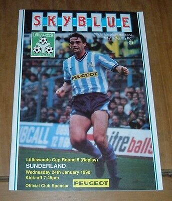 Coventry v Sunderland League Cup 24 January 1990 Round 5 Replay
