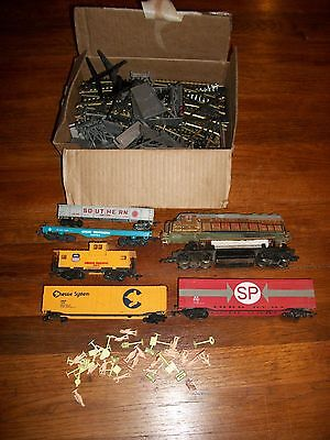 Large lot of Bachmann Train items including Cars, Tracks and Signs