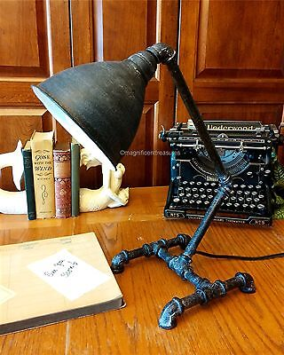 Industrial Black Desk Table Lamp Light Factory Pipe Steampunk Metal Modern New