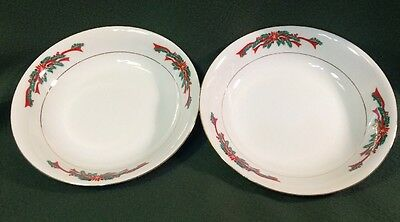 2 Poinsettia & Ribbons Fine China Coupe Soup Bowls / Cereal Christmas Excellent