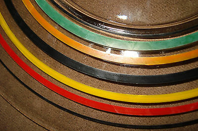 2 ANCHOR HOCKING Banded Ring Glass Plates Stripe 8 1/4''~RD/GR/YEL/ORNG/BLACK