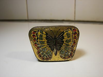 Rare Ad Sewing Hooks BUTTERFLY Tin 1900's Schmetterling Nähe Blechdose #1