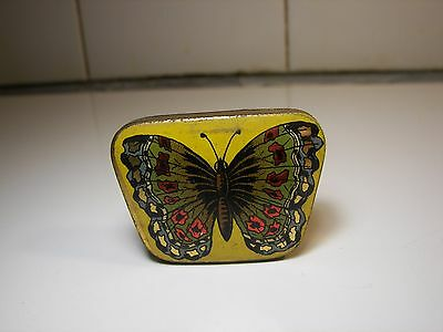 Rare Ad Sewing Hooks BUTTERFLY Tin 1900's Schmetterling Nähe Blechdose #2