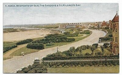 [1215] Kent Colored Postcard Westgate-On-Sea The Gardens & St Mildred's Bay
