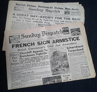 British, War Newspapers, Sunday Dispatch x 2 from the 1940's