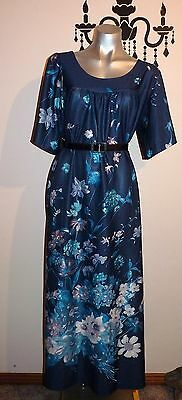 VINTAGE 70's 80's TIFFANY RETRO FLORAL MAXI DRESS SIZE 12 - 14