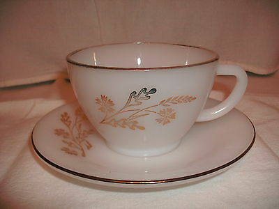 Golden Glory Cup and Saucer Set, Federal Glass Co