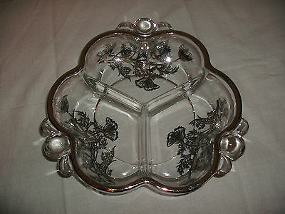 Divided Serving Dish, Clear Glass Silver Pattern