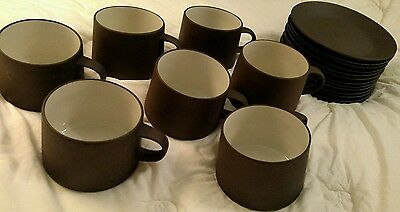 Dansk Denmark Smooth Brown Flamestone 7 cups & 13 Saucers, IHQ Jens Quistgaard