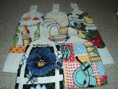 5 Hand Towels, Double sided, Crochet Tops (10)