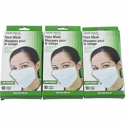 30 Assured Disposable Face Masks Respiratory Dust Pollen Flu Colds Protection
