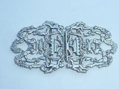Superb Vintage Solid Silver Nurses Belt Buckle Cherubs London Hallmark