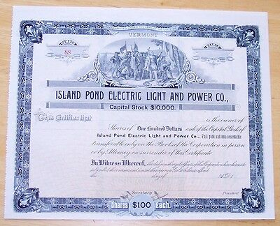 Stock Certificate Island Pond Electric Light and Power Co. Vermont ca 1900