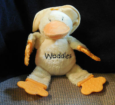 Bright Starts Waddles Duck teether rattle plush animal yellow doll toy