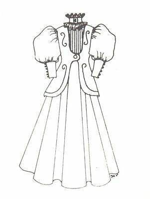 """Period French German Victorian Anique Dress PATTERN for 17"""" to 18"""" Doll 160"""
