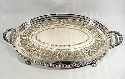 EARLY Antique Roberts & Belk Silver Plate HOOF Footed GALLERY Serving TRAY 22""