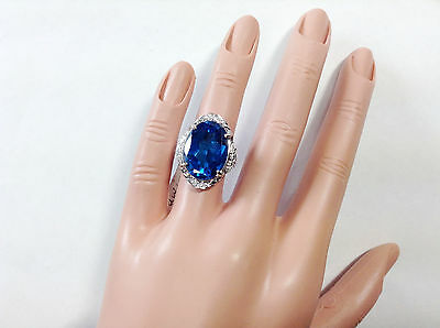 15.23Ct Genuine Natural Diamond And Blue Topaz Ring In Solid 14K White Gold